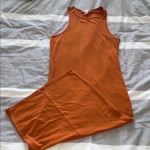 Forever 21 Orange Fitted Midi